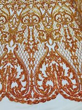 Iridescent Orange 4 Way Stretch Sequin Fabric Spandex Mesh Lace-Prom-Gown 1Yard