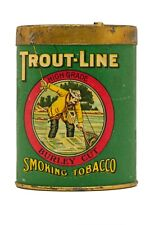 "Scarce 1900s""Trout Line"" oval cardboard slide-top pocket tobacco tin in exc cond"