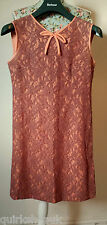 VINTAGE 50's or 60's mocha CHANTILLY LACE shift DRESS with peach lining 8 36 VGC