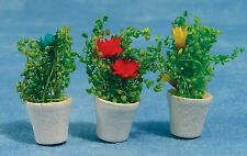 1:12 Scale Variety Of Three Flowers In Plant Pots Dolls House Accessory 088