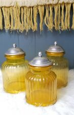 Vintage Canisters Amber Ribbed Glass w/ Metal Lids Set of 3 Artland-Style