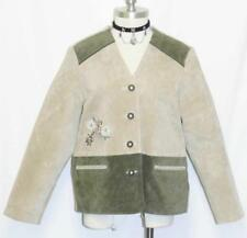 BEIGE & LODEN GREEN / LEATHER Women German Hunting Western Over Coat JACKET 14 L