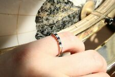 9ct white gold blue sapphire and round brilliant diamond channel claw set ring