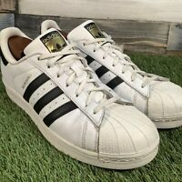 UK11 Adidas Superstar Shell Toe Trainers - VTG Retro Style - White Black - EU46