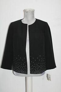 Kasper Petite Embellished open-Front Blazer with Bottom Detail, Black, 10P