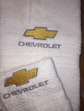 Embroidered WHITE Bathroom Hand Towel /Cloth Automotive Label  Gold and Silver