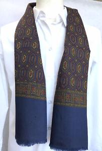 Mens Vintage SILK WOOL blend Scarf Paisley 70's Retro Gents Necktie