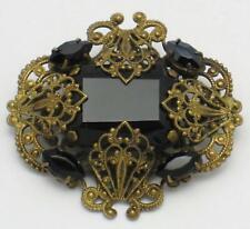 Vintage Gold Plated Filigree Black Crystal Rhinestone Brooch Pin