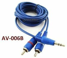 """6ft Value-Series 3.5mm (1/8"""") Stereo Male to 2-RCA Male Blue Audio Cable AV-006B"""