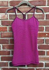 LULULEMON Power Y Tank Top Shelf Bra Hyper Stripe Raspberry Glo Plum 4 6 RARE