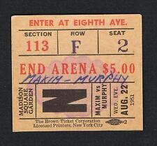 1951 JOEY MAXIM vs BOB MURPHY boxing ticket Mims Ryff Reed Sullivan Weiss Takach
