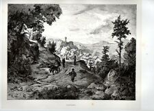 Stampa antica Veduta di OLEVANO Campagna di Roma 1876 Old print Engraving