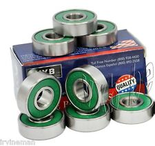 Set of 8 Premium Fast Skateboard Bearings Racing Nylon Cage Oil Pro Longboard