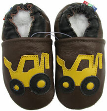 carozoo forklift brown 7-8y soft sole leather kids shoes slippers