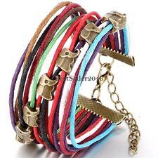 Handcrafted Vintage Colorful Elephant Multi Strand Leather Wrap Charm Bracelet