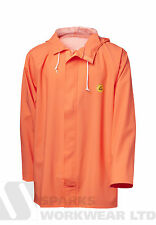 Viking Rubber Budget Hooded Fishing Flex Rain Jacket Waterproof Hi Vis Orange