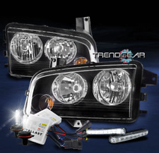 FOR 2006-2010 DODGE CHARGER REPLACEMENT BLACK HEADLIGHT LAMP W/DRL LED+6000K HID