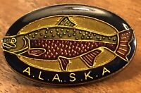 Alaska Salmon Fishing Lapel Hat Pin Pinback  ~ Great Eye Appeal