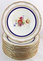 SET(s) 6 RIM SOUP BOWL ALLEN ROYAL DOULTON RA1492 ASCOT BLUE COBALT GOLD FLOWERS