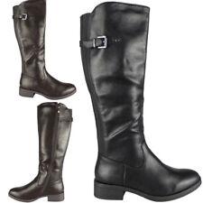 Womens Ladies Mid Calf Zip Elastic Buckle Rider High Biker Heel Boots Shoes Size