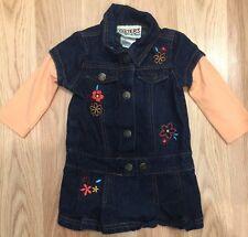 CARTER'S BABY GIRLS 12 Months Denim Dress Jean Watch The Wear Embroidered