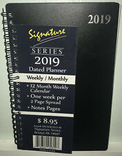 """NEW 2019 Weekly Monthly Planner Signature Series Calendar Black Spiral 5""""x8"""""""