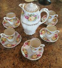 Vintage ~ Bavaria ~ Pink Roses  Porcelain ~ Hot Chocolate Pot w 5 Cups & Saucers