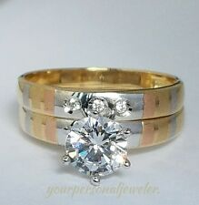 Woman' 2 Piece 14K white yellow Gold Round Cut Engagement Wedding Band Ring Set