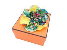 HERMES La Fleur Flower Pin Brooch Corsage Yellow/Multicolor 100% Silk - e43156
