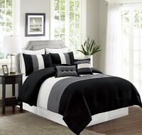 8 Pc King Black Grey White Pin Tuck Pleated Poly Silk Comforter Set Bed-in-a-Bag