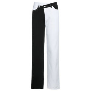 Casual Fashion Colorblock Black White Trousers High Waist Straight Pants Jeans
