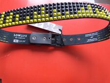 """**Lowlife Shrink Pyramid Leather Belt in Black and Yellow-BNWT-X Small 24""""-28""""**"""