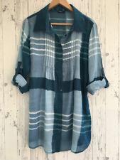 ROMAN Shirt Top Blue Long Sleeve Tie Back Size 14    SKU3/020
