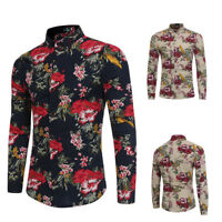 Fashion Mens Long Sleeve Luxury Stylish Casual Floral Slim Fit Dress T-Shirts