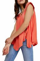 Free People Womens Top Coral Orange Size Small S Keep It Casual Tunic $58- 383