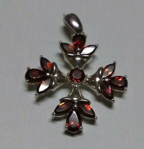 "Silver 925 ruby cross pendant 1  1/8"" x 1  1/8"" Beautiful"