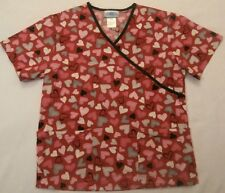 fdb4e578fc9 SB Scrub Top S small hearts valentine red medical hospital nurse 100% cotton