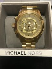 Michael Kors MK8077 Men's Runway Oversized Gold Chrono Watch 45mm Unisex