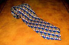 New Vintage Ermenegildo Zegna Hand Woven Silk Tie Blue/Brown Color Tones Italy