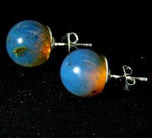 Authentic Dominican Amber Earrings 925 Silver Beads Blue Gemstone