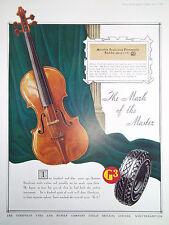 """VIOLINO Stradivari GOODYEAR PNEUMATICI annuncio Stampa Antica datata 1935 11"""" x 8"""""""