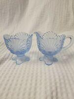 Vintage Mosser Glass Beaded Shell Sugar and Creamer Set - blue