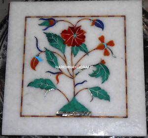 "6"" White Marble Corner Table Top Multi Floral Restaurant Handmade Gifts H5324"