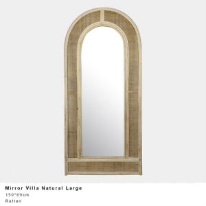 Large Natural Rattan Arch Mirror Coastal, Beach, Hamptons 150x69cm Avail 30JUN21