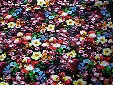 Jersey elástico Impreso Diseño de la flor - Tejido Vendido por metro