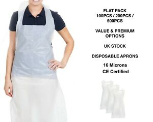 Disposable Plastic Aprons White Polythene Aprons Flat Pack / Roll 100 / 200 Pack
