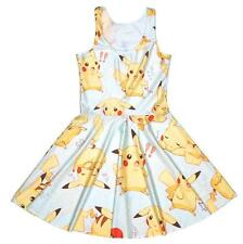 Pokemon Pikachu Girls Sweet Kawaii Anime Yellow Cartoon Summer Skater Dress M