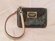 Vintage Authentic Michael Kors Black Gold Glossy Coin Purse Wristlet Strap Tan
