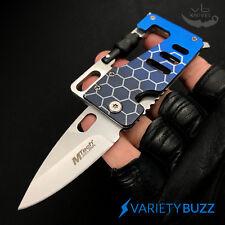 CREDIT CARD MULTI-TOOL Camping Hunting FOLDING KNIFE Wallet Thin Carabiner BLUE