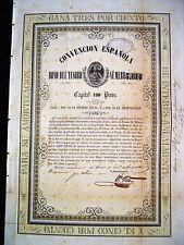 Mexico Mexican 1854 Spain Convencion Espanola 100 Pesos Aguila Spanish UNC Bond